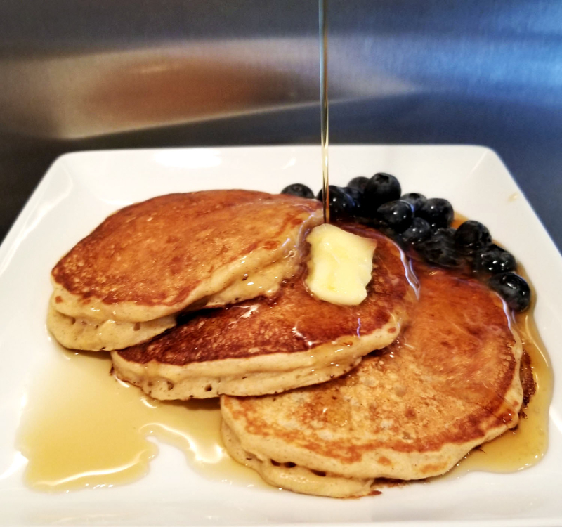 Fluffy Blueberry Oat Pancakes