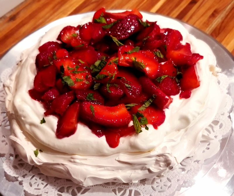 Strawberry Mint Pavlova