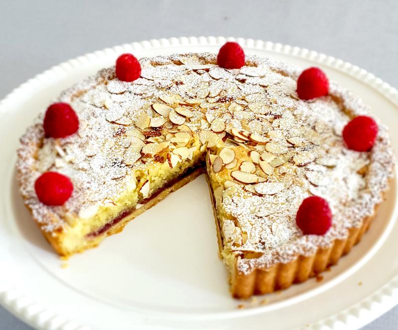 Classic British Bakewell Tart Almond Frangipane Jam Tart sliced