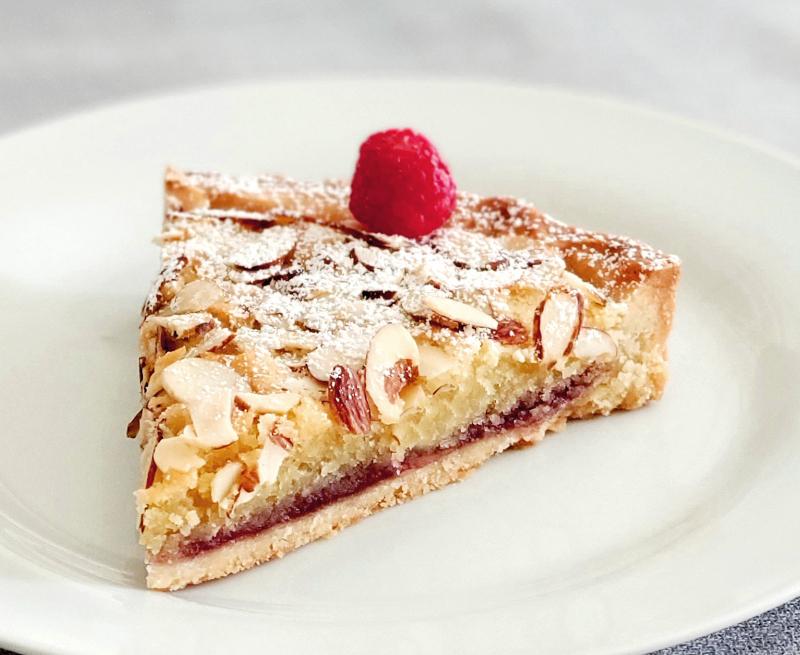 Classic British Bakewell Tart Almond Frangipane Jam Tart photo