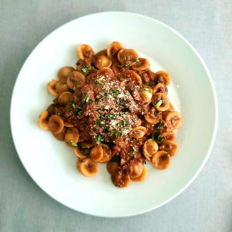 Ina Garten Weeknight Bolognese plate