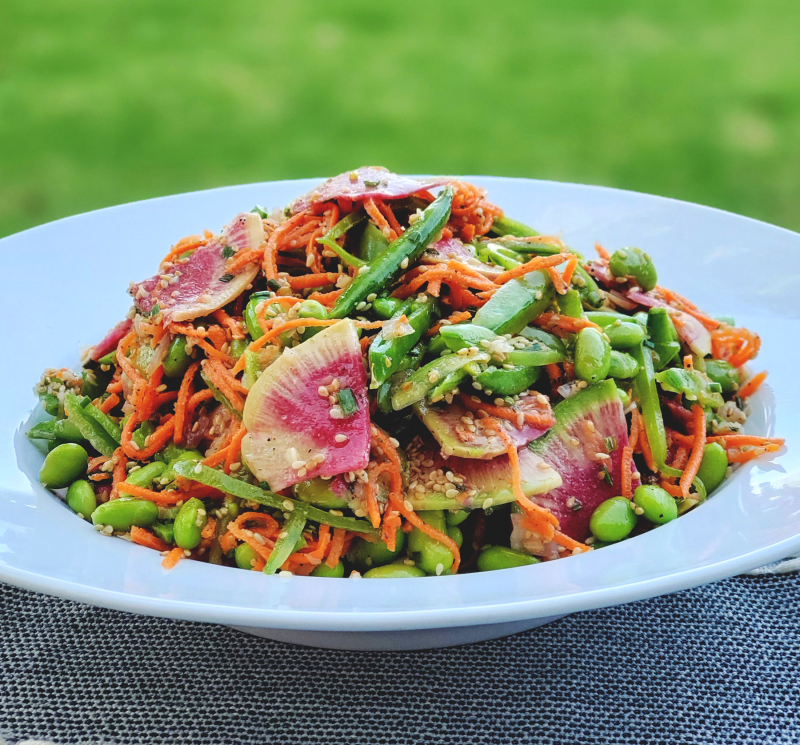 Edamame Snap Pea Salad Watermelon Radishes Sesame Dressing photo