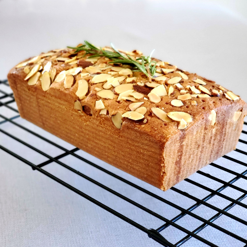 Lemon Almond Loaf Cake Rosemary Drizzle