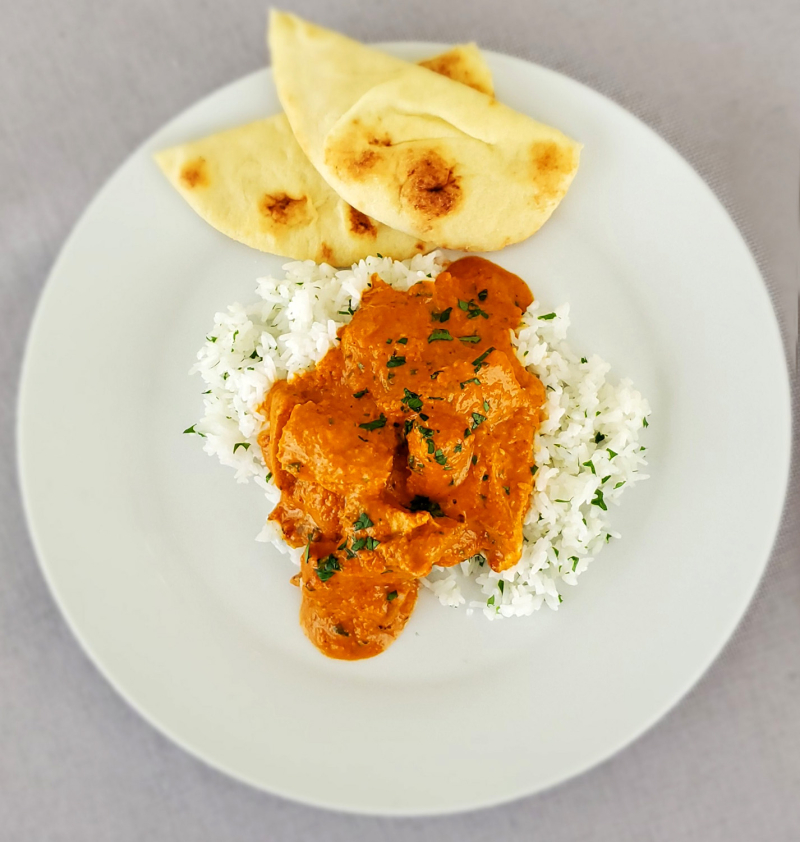 Murgh Makhani Indian Butter Chicken plated