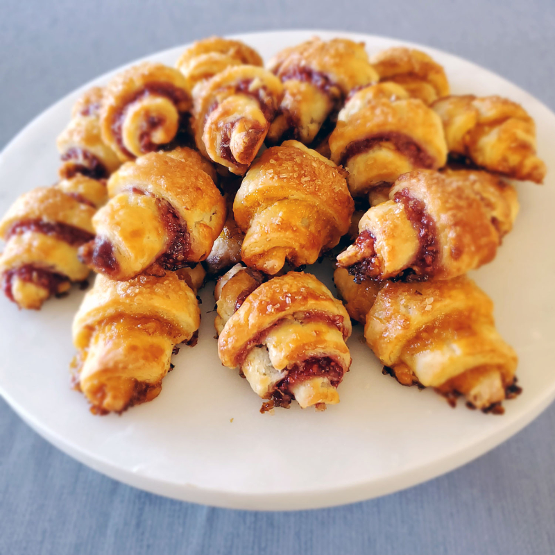 Perfect Jam-Filled Rugelach crescents plate