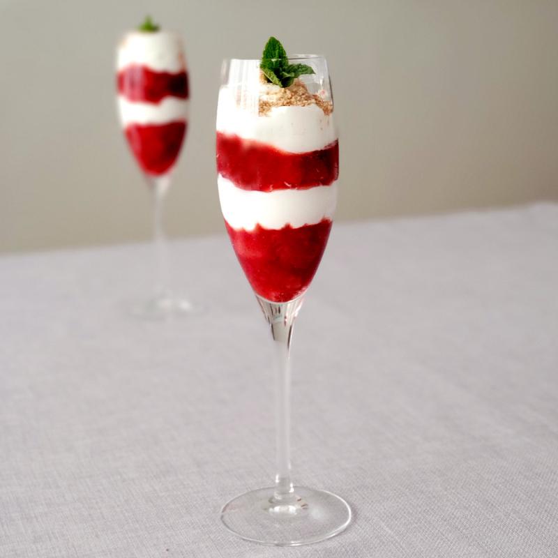 Strawberry Rhubarb Fool Flutes
