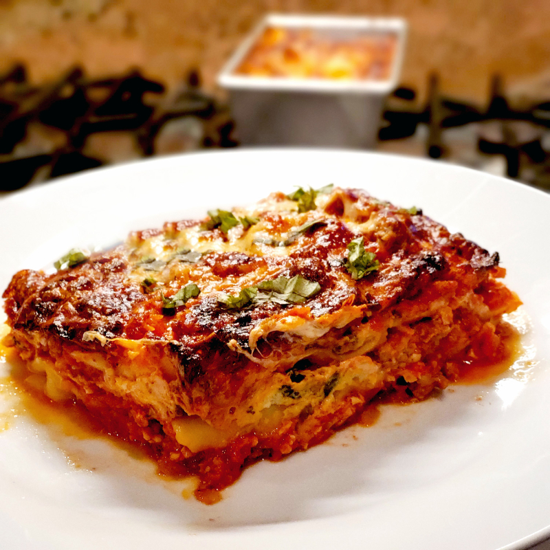 Quick Loaf Pan Lasagna serving