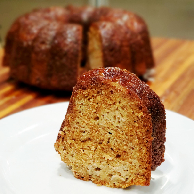 Glazed Honey Apple Bundt Cake slice