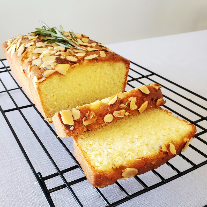 Lemon Almond Loaf Cake Rosemary Drizzle Cake sliced