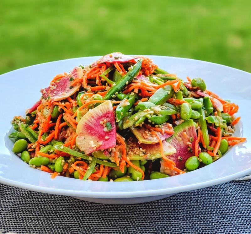 Edamame Snap Pea Salad Watermelon Radishes Sesame Dressing